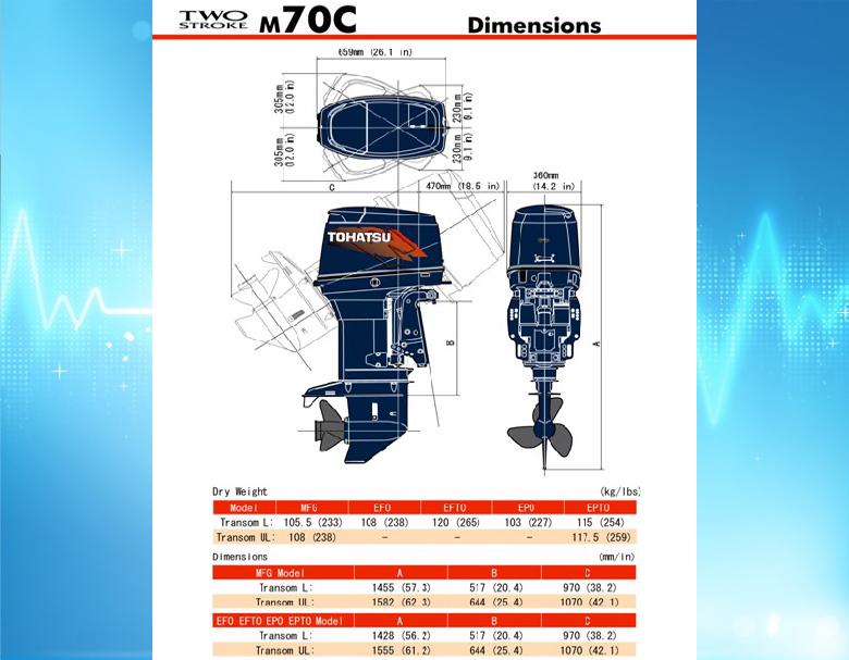 технические характеристики лодочного мотора тохатс